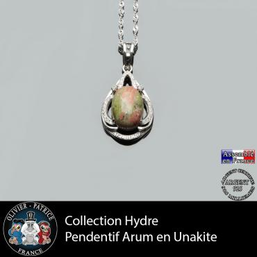 Collection Hydre : Pendentif Arum en unakite naturel et argent 925