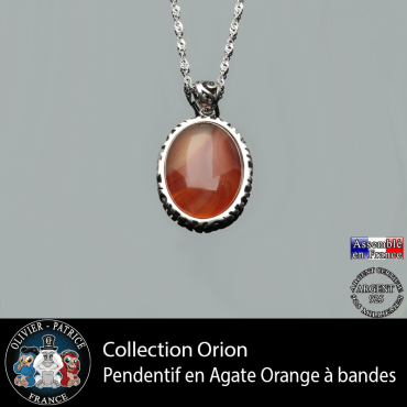 Collection Orion : Pendentif agate orange à bandes