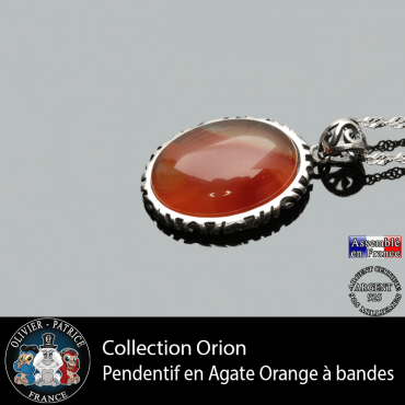 Collection Orion : Pendentif agate orange à bandes et en argent 925