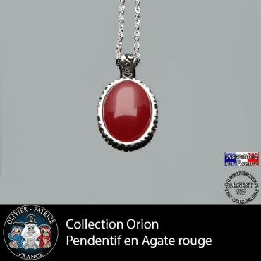 Collection Orion : Pendentif agate rouge et argent 925