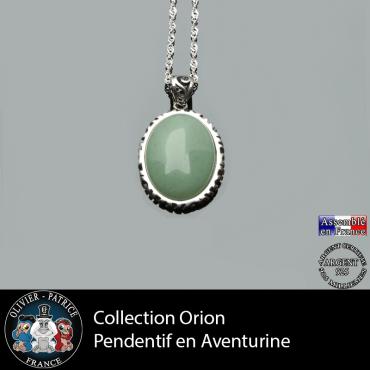 Collection Orion : Pendentif aventurine verte naturelle et argent 925