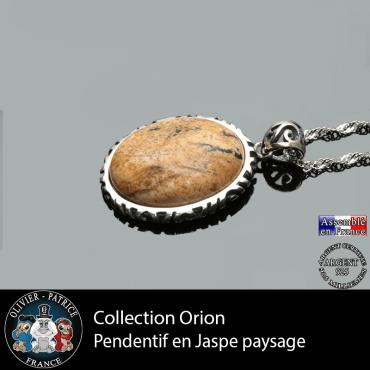 Collection Orion : Pendentif jaspe paysage naturel et en argent 925