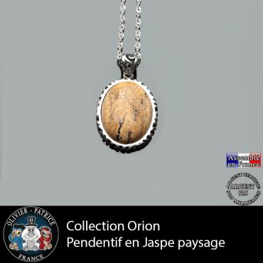 Collection Orion : Pendentif jaspe paysage et argent 925