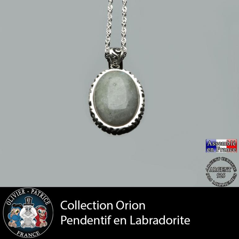 Collection Orion : Pendentif labradorite naturelle et argent 925