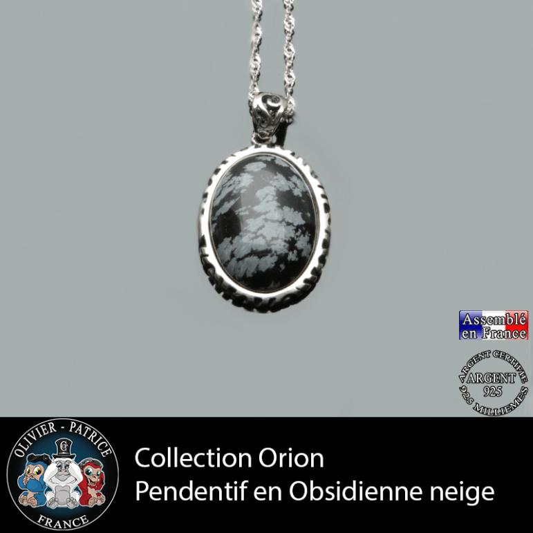 Collection Orion : Pendentif obsidienne neige naturelle et argent 925