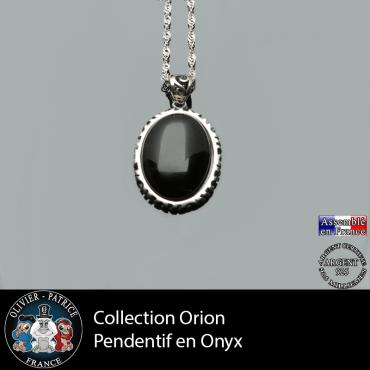 Collection Orion : Pendentif onyx naturel et argent 925