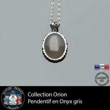 Collection Orion : Pendentif onyx gris naturel et argent 925