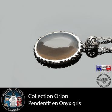 Collection Orion : Pendentif onyx gris pierre naturelle et en argent 925