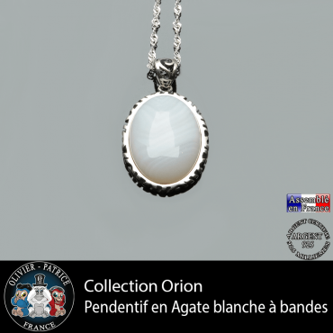 Collection Orion : Pendentif agate à bandes blanches