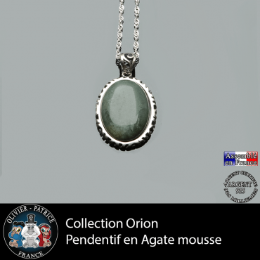Collection Orion : Pendentif agate mousse naturelle