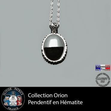 Collection Orion : Pendentif hématite naturelle argent 925