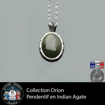 Collection Orion : Pendentif Indian Agate naturelle