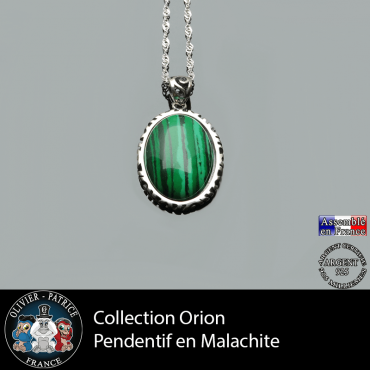 Collection Orion : Pendentif malachite naturelle
