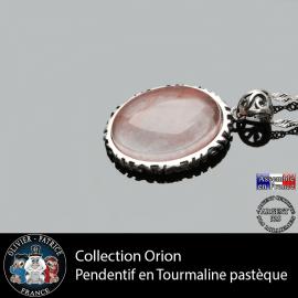 Collection Orion : Pendentif tourmaline rose pastèque