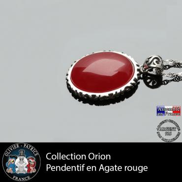Pendentif agate rouge et argent 925