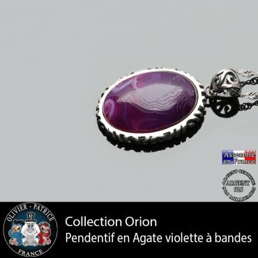 Collection Orion : Pendentif agate violette à bandes et argent 925