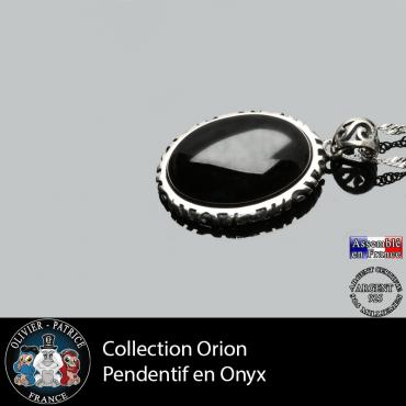 Pendentif onyx naturel et argent 925