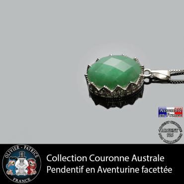 Pendentif couronne en pierre d'aventurine verte à facettes et argent 925