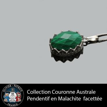 Pendentif couronne malachite facettée argent 925