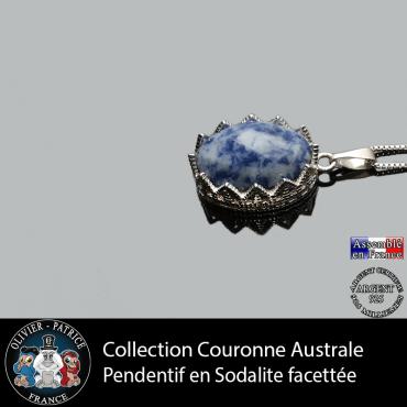 Pendentif couronne sodalite facettée en argent 925