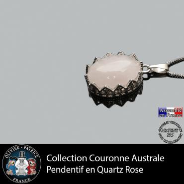 Pendentif couronne australe en quartz rose lisse en argent 925