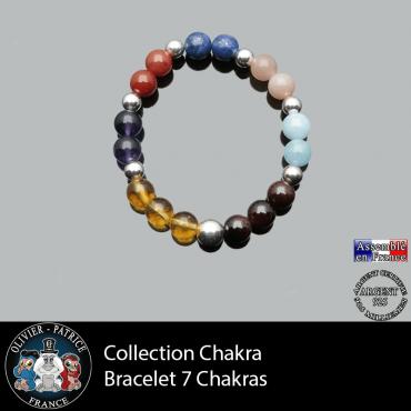 Bracelet des 7 chakras en argent 925 - 17 cm