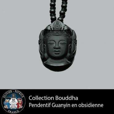 Pendentif Guanyin sculpté sur une obsidienne noire