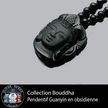 Pendentif Guanyin sculpté à la main en obsidienne