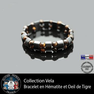 Bracelet homme double en oeil de tigre et hématite
