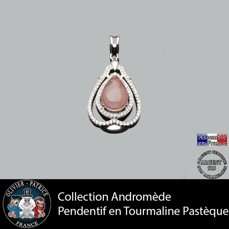 Pendentif Andromède tourmaline rose pastèque en argent 925