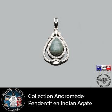 Pendentif Andromède Agate d'Inde en argent 925