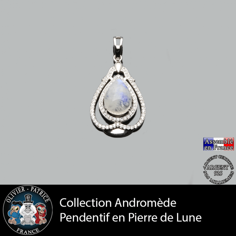 Pendentif Andromède Pierre de lune en argent 925