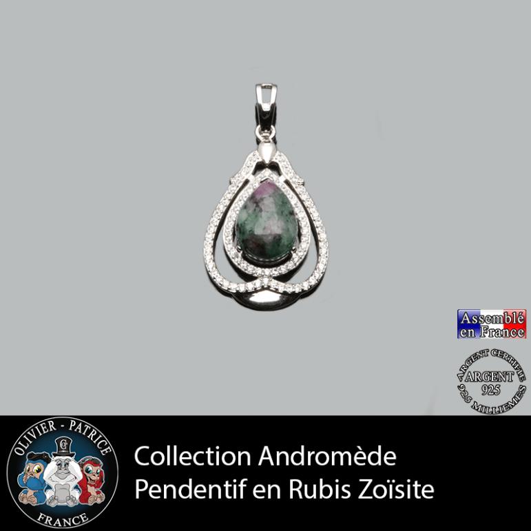 Pendentif Andromède Rubis zoïsite en argent 925