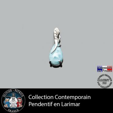 Collection contemporain : pendentif en larimar naturel