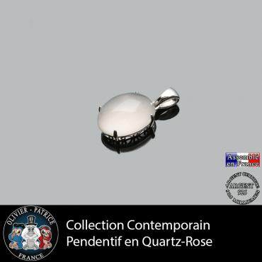Collection contemporain : Pendentif quartz rose naturel