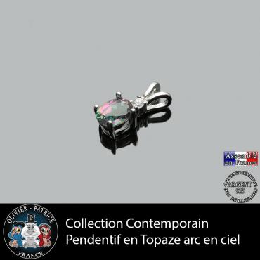 Collection contemporain : le pendentif de la parure en topaze arc-en-ciel
