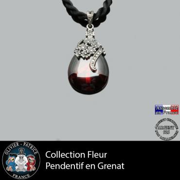Collection fleur : Pendentif grenat