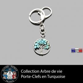 porte clefs en pierre naturelle en turquoise