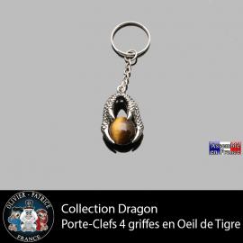 porte clefs dragon 4 griffes en oeil de tigre