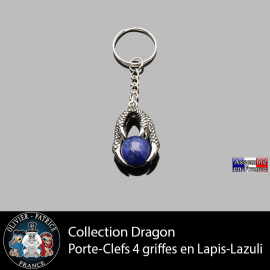 porte clefs dragon 4 griffes en lapis lazuli