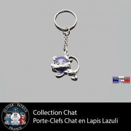 porte-clefs chat lapis lazuli en pierre naturelle