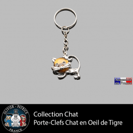 porte-clefs chat oeil de tigre en pierre naturelle