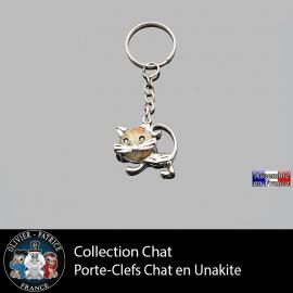 porte-clefs chat unakite en pierre naturelle