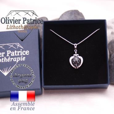 Pendentif obsidienne neige sur un coeur en argent 925