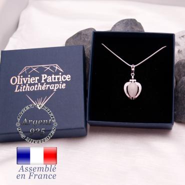 Pendentif quartz rose sur un coeur en argent 925