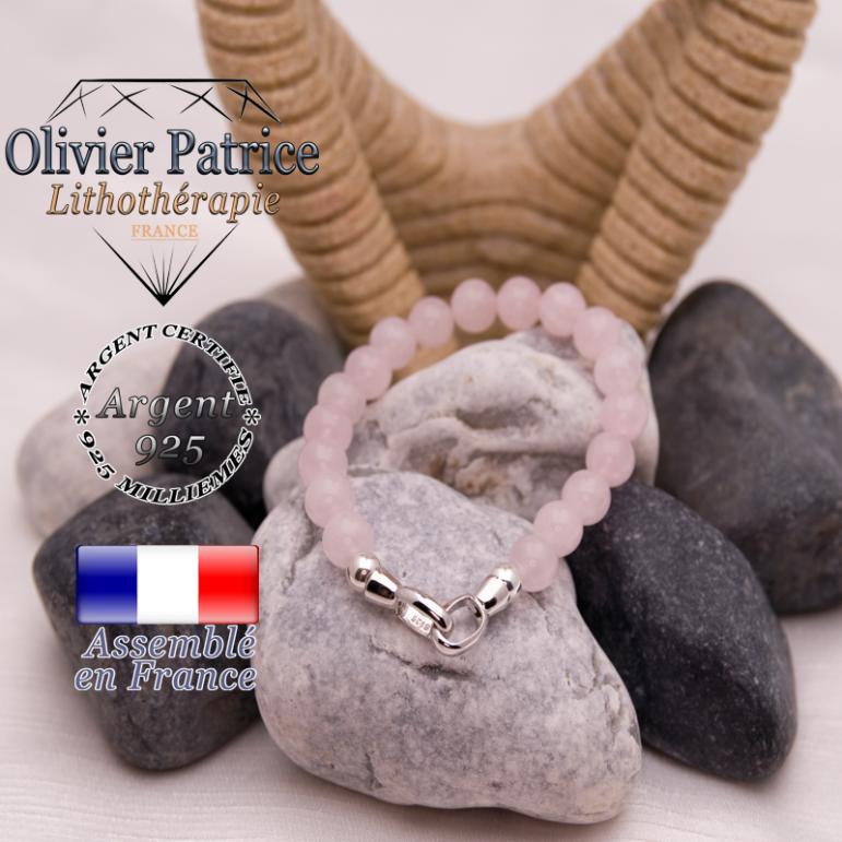 Bracelet quartz rose avec un fermoir en argent 925