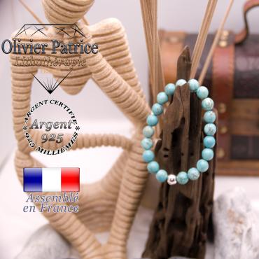 Bracelet turquoise et sa boule en argent 925 - 8 mm