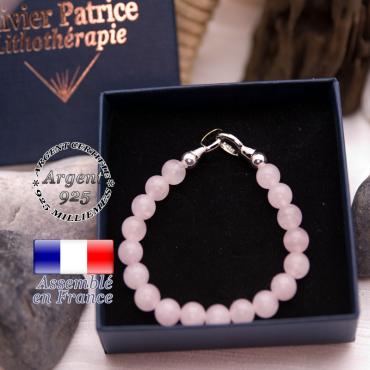 Bracelet quartz rose avec un fermoir en argent 925 dans son écrin