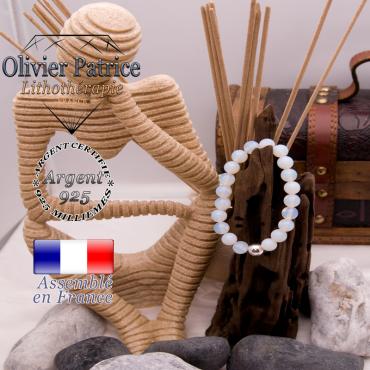 Bracelet opale et sa boule en argent 925 - 8 mm