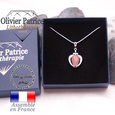Pendentif tourmaline rose pastèque sur coeur en argent 925